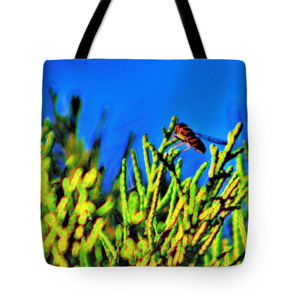 Insect Tote Bag featuring the photograph Syrphid Fly by Scott Carlton