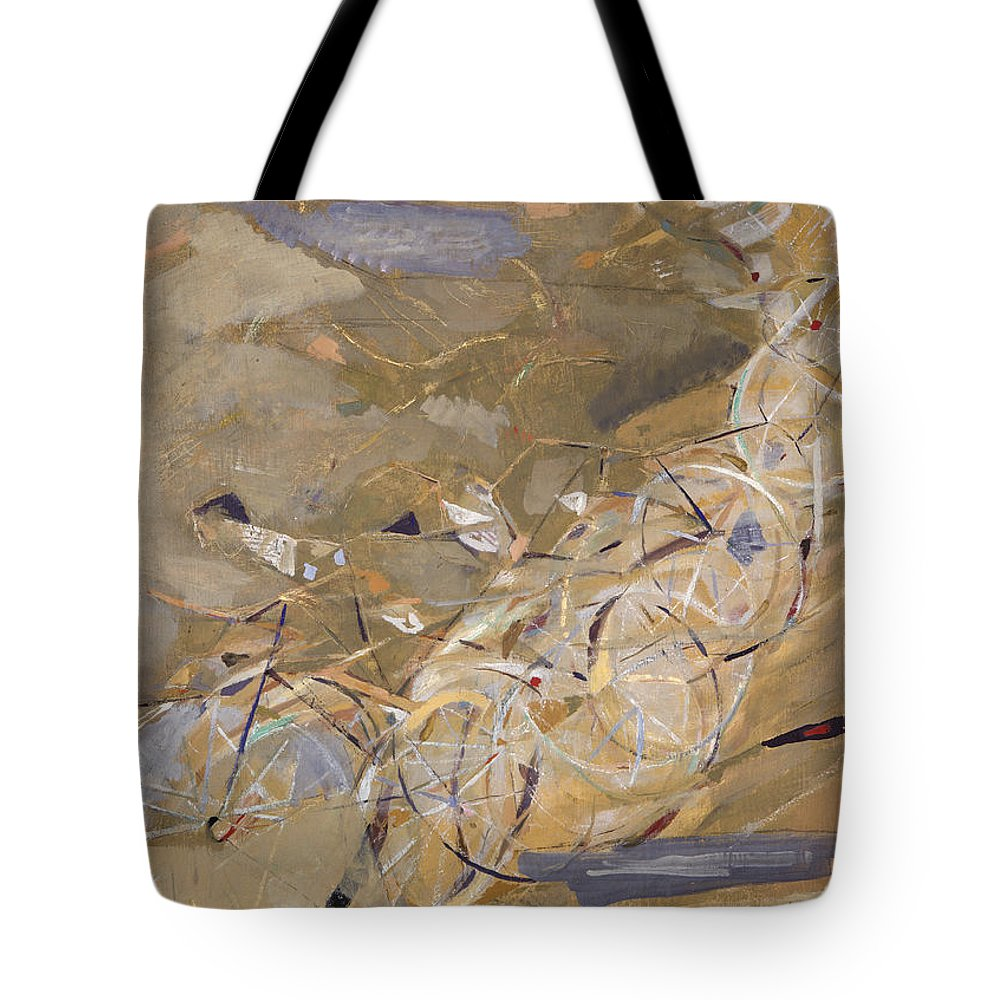 1954 Tote Bag featuring the photograph Szenes: Bicycle Racers by Granger