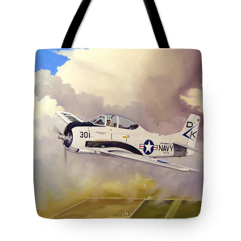 Military Tote Bag featuring the painting T-28 Over Iowa by Marc Stewart