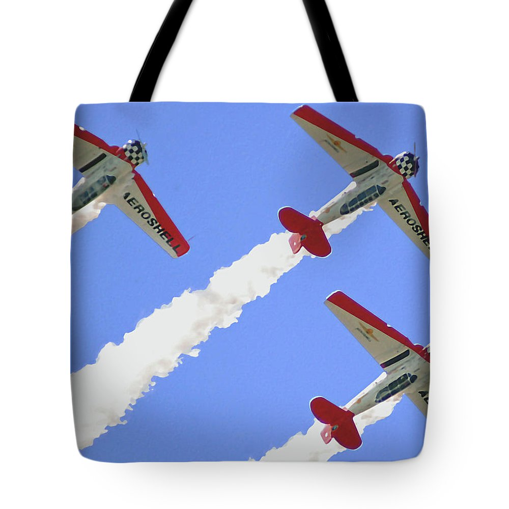T6 Tote Bag featuring the digital art T6 Aerobatics by DigiArt Diaries by Vicky B Fuller