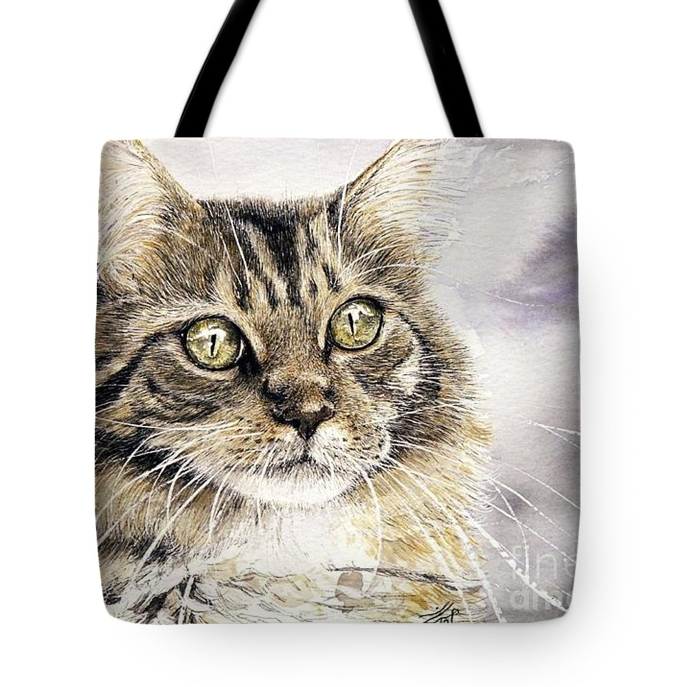 Cat Artwork Tote Bag featuring the painting Tabby Cat Jellybean by Keran Sunaski Gilmore