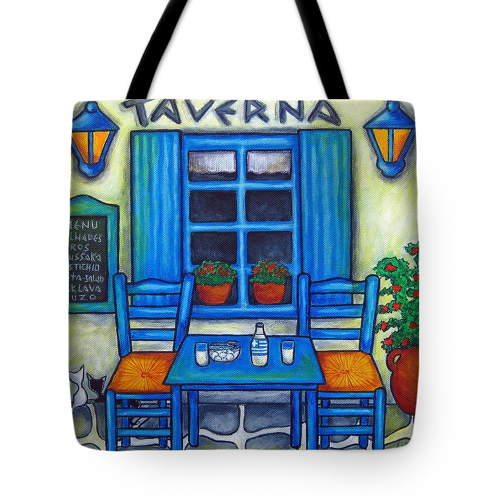 Blues Tote Bag featuring the painting Table for Two in Greece by Lisa Lorenz