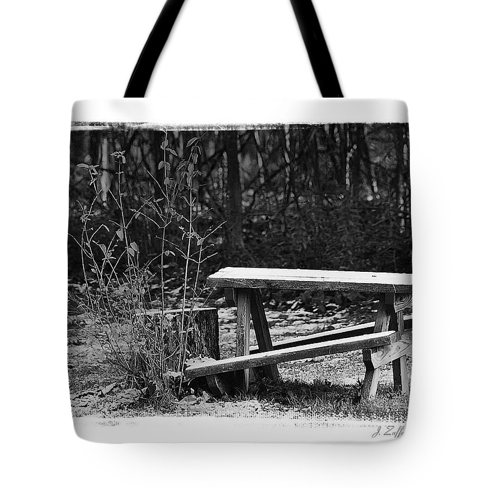 B&w Tote Bag featuring the photograph Table by James Zuffoletto