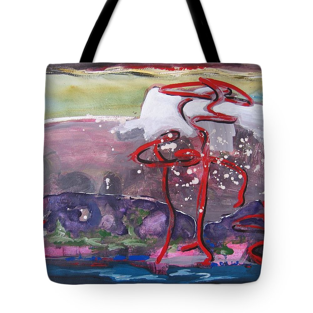 Abstract Paintings Tote Bag featuring the painting Table Land3 by Seon-Jeong Kim