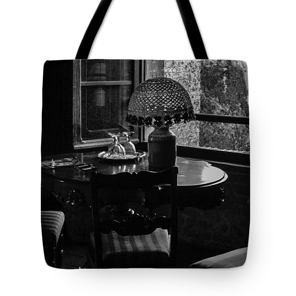 Black & White Tote Bag featuring the photograph Table Setting Still Life by Joseph Yvon Cote