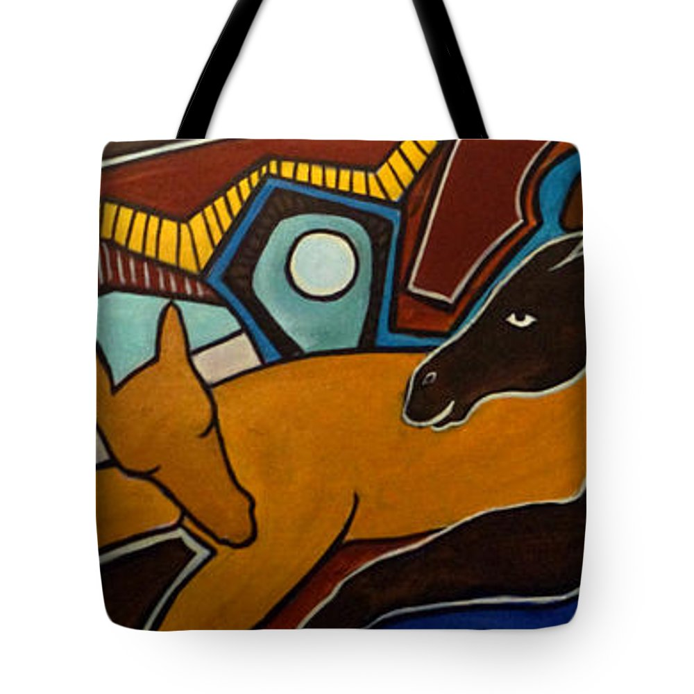 Horse Abstract Tote Bag featuring the painting Taffy Horses by Valerie Vescovi