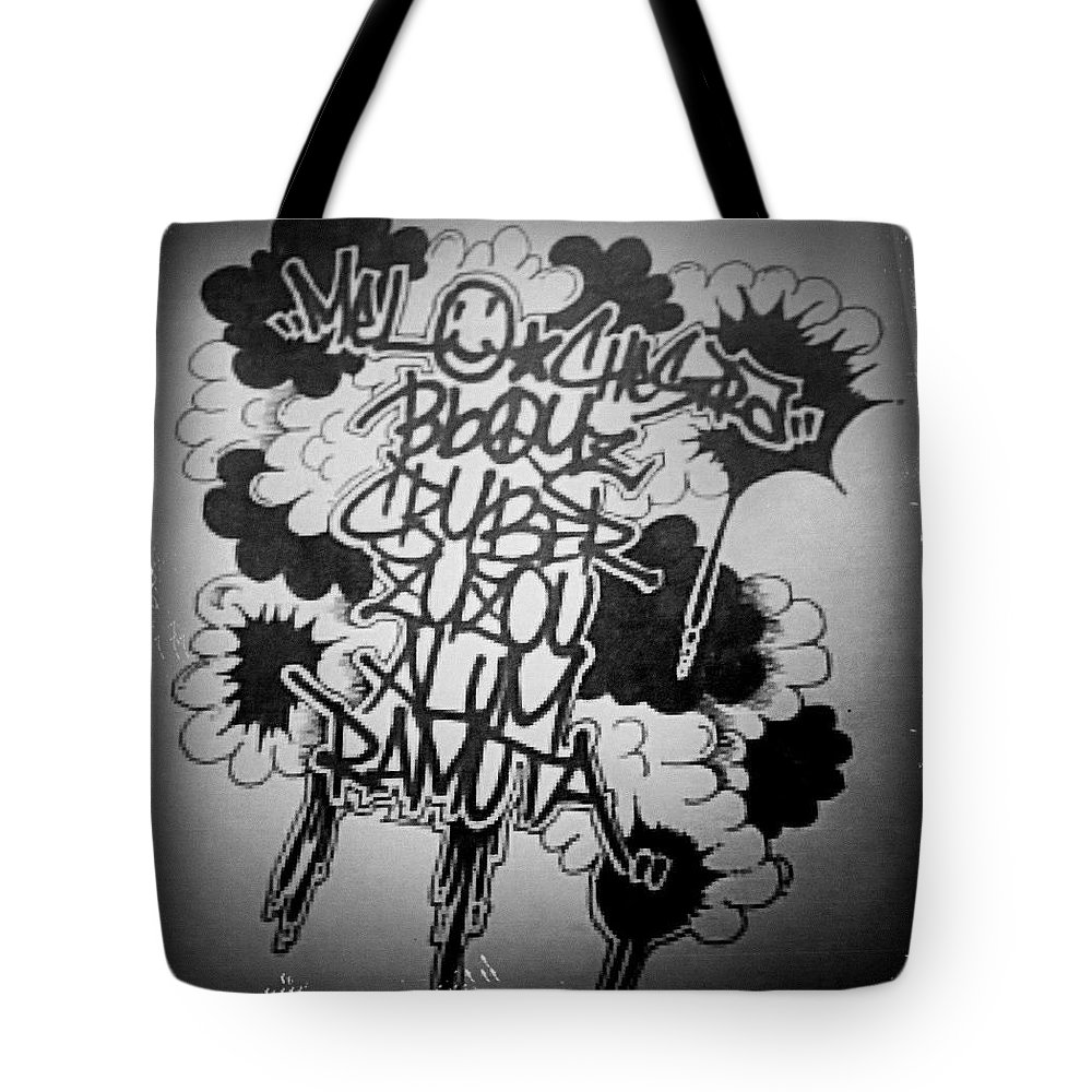 Tote Bag featuring the drawing Tagging by Zyzou Fukuno Daisuke