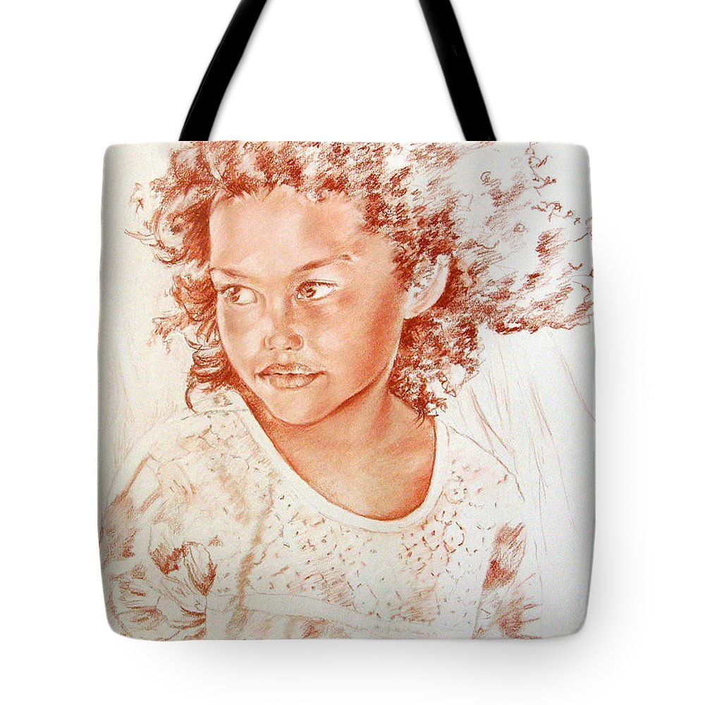 Drawing Persons Tote Bag featuring the painting Tahitian Girl by Miki De Goodaboom