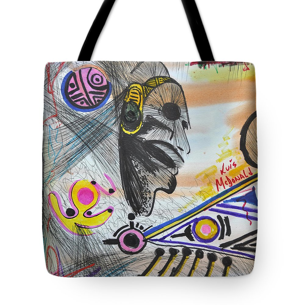 Autumn Tote Bag featuring the painting Taino Mask And Symbols by Luis McDonald