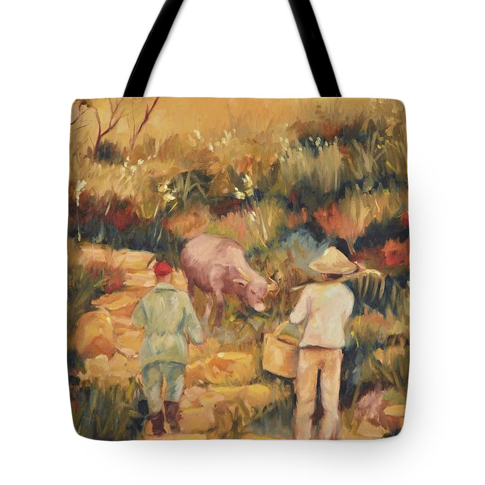 Water Buffalo Tote Bag featuring the painting Taipei Buffalo Herder by Ginger Concepcion