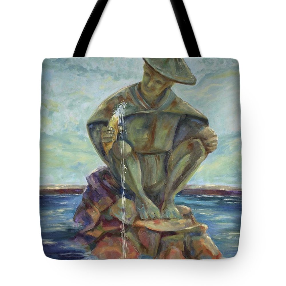 Landscape Tote Bag featuring the painting Taipei Fountain by Ginger Concepcion