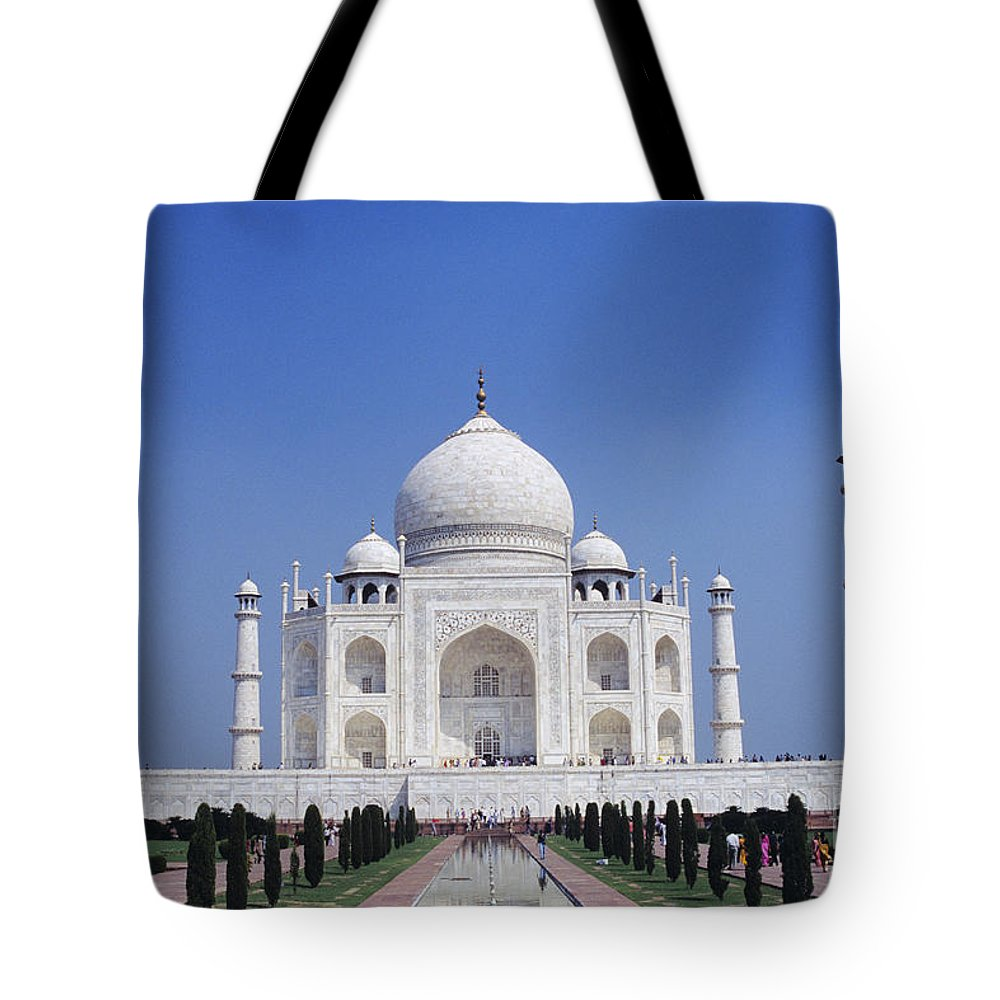 Agra Tote Bag featuring the photograph Taj Mahal Landscape by Gloria & Richard Maschmeyer - Printscapes