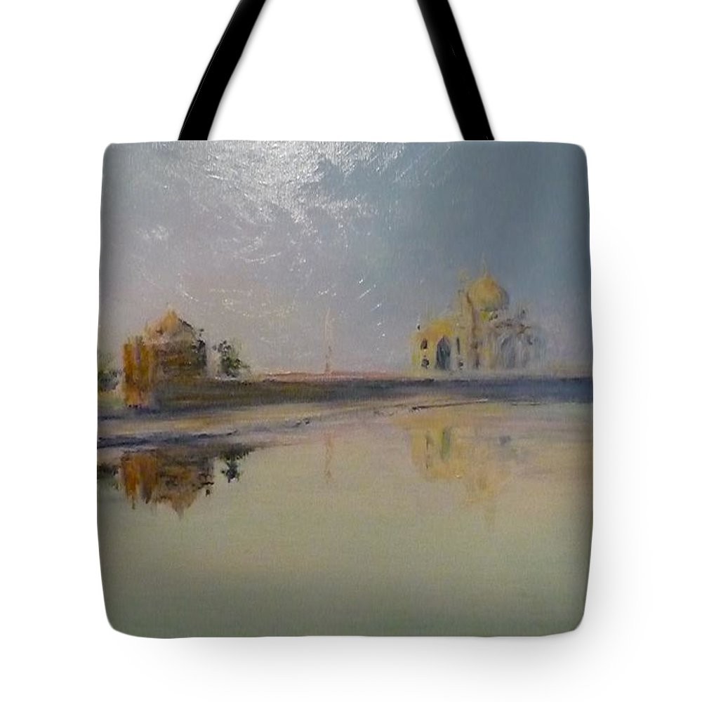 Taj Mahal Tote Bag featuring the painting Taj Mahal Sunrise by Lizzy Forrester