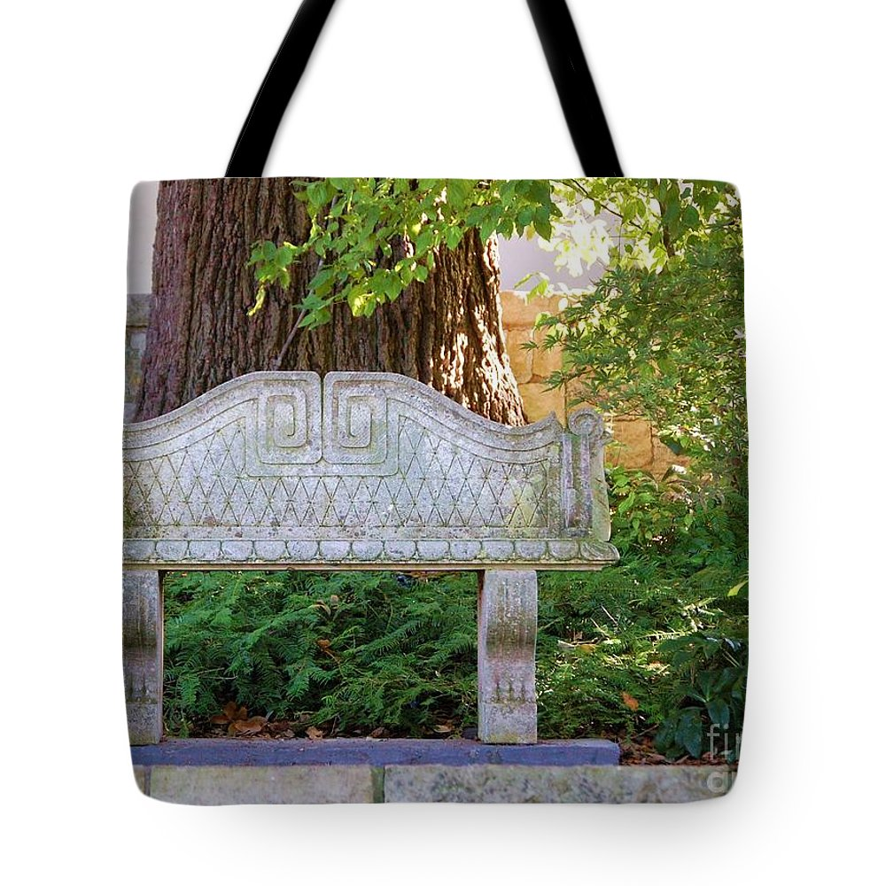 Bench Tote Bag featuring the photograph Take A Break by Debbi Granruth