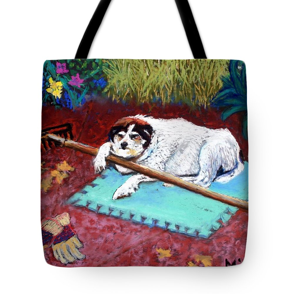 Dog Tote Bag featuring the painting Take A Break by Minaz Jantz