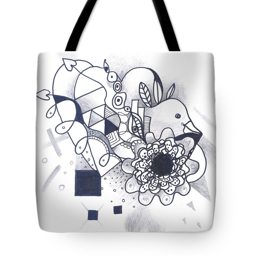 Abstract Tote Bag featuring the drawing Take A Chance by Helena Tiainen