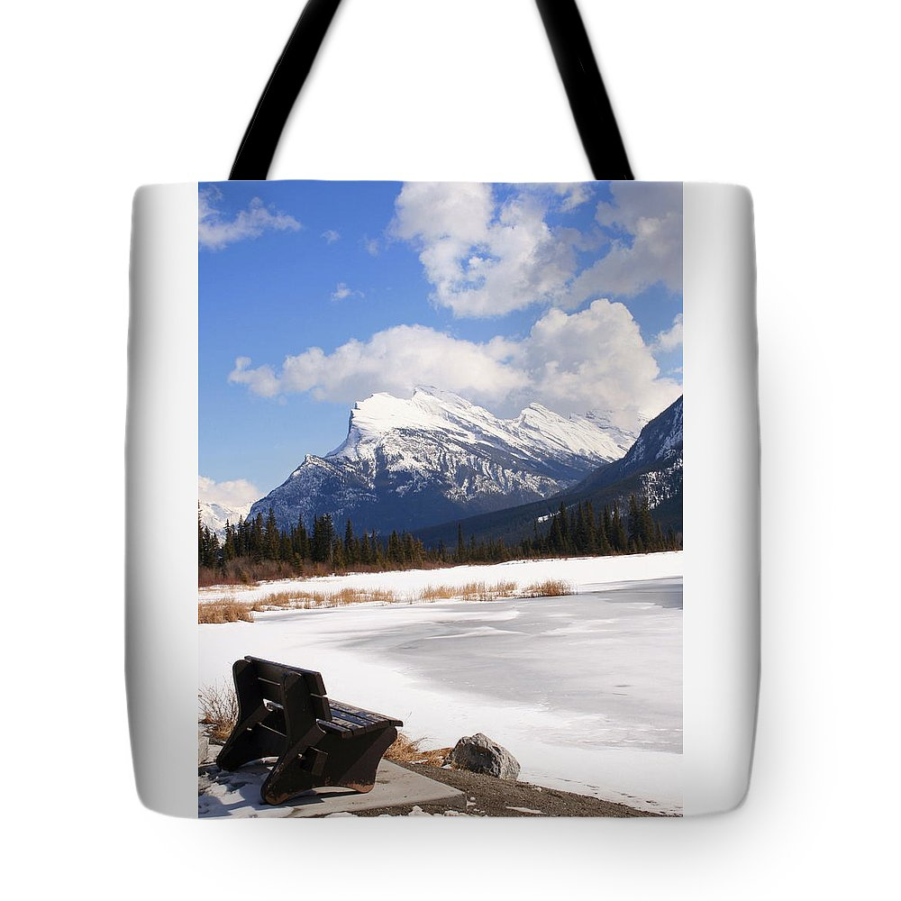 Vermillion Lake Tote Bag featuring the photograph Take A Seat At Vermillion Lake by Tiffany Vest