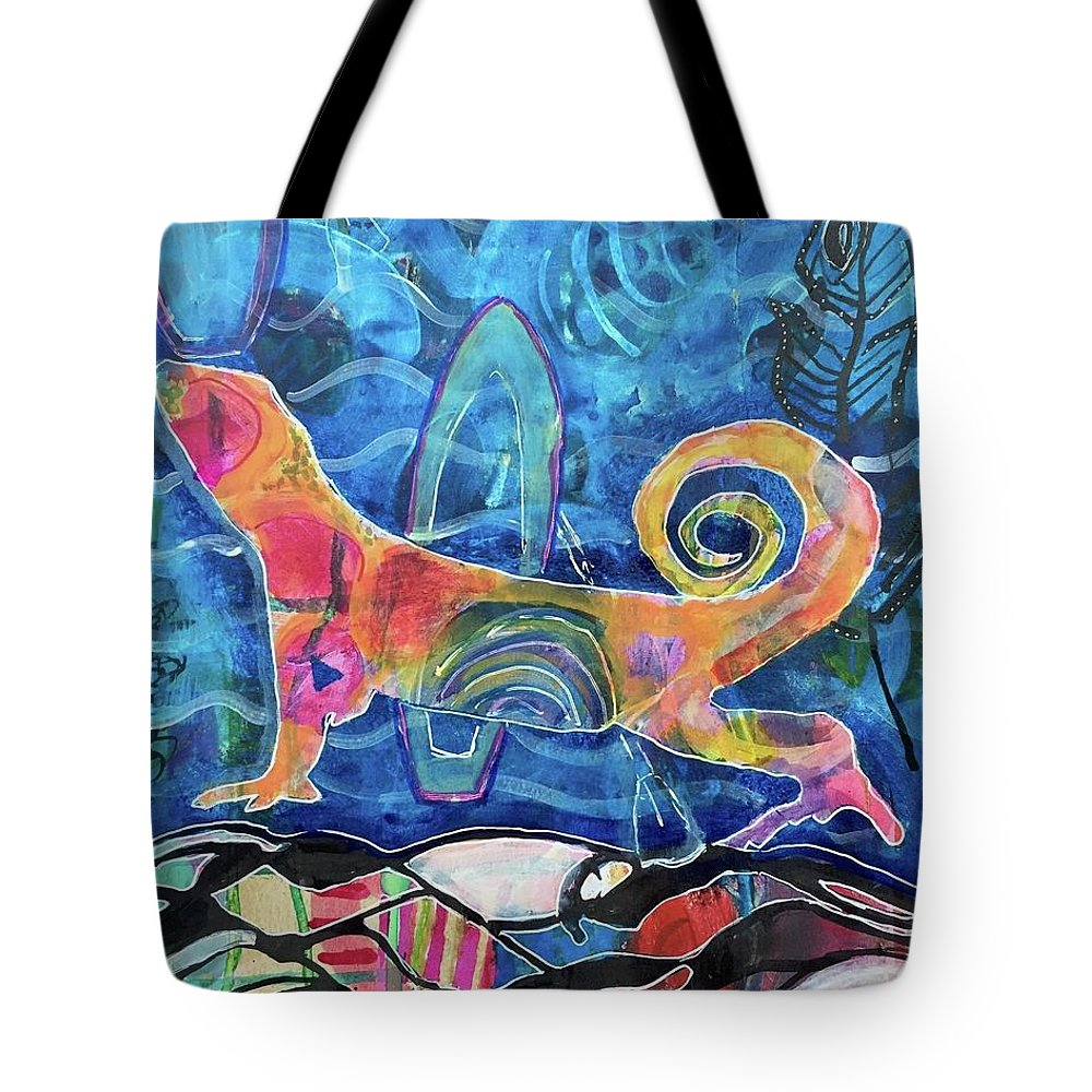 Portrait Tote Bag featuring the mixed media Take me back to the Bahamas by Mary Conner