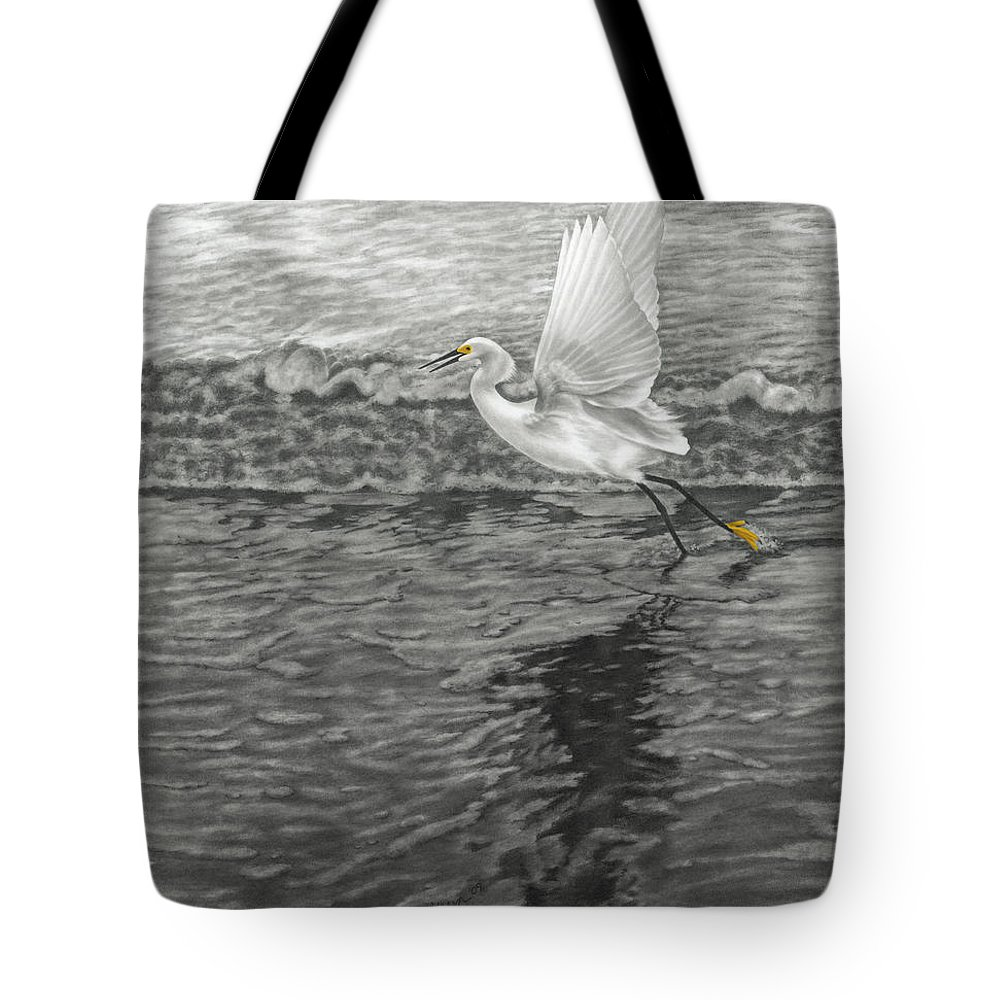 Nature Tote Bag featuring the drawing Take Off At Dusk - The Rendering by Lucyna A M Green