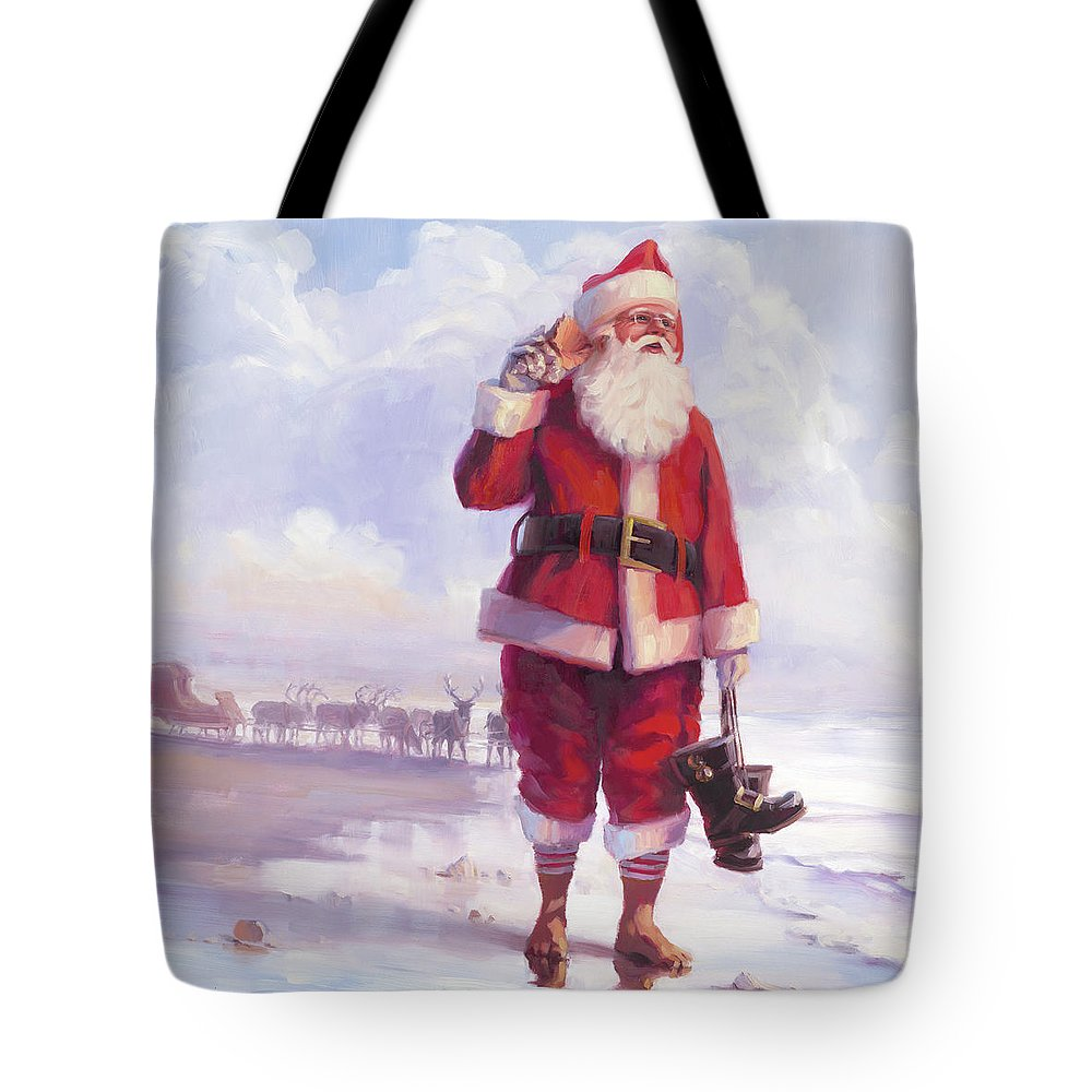 Christmas Tote Bag featuring the painting Taking A Break by Steve Henderson