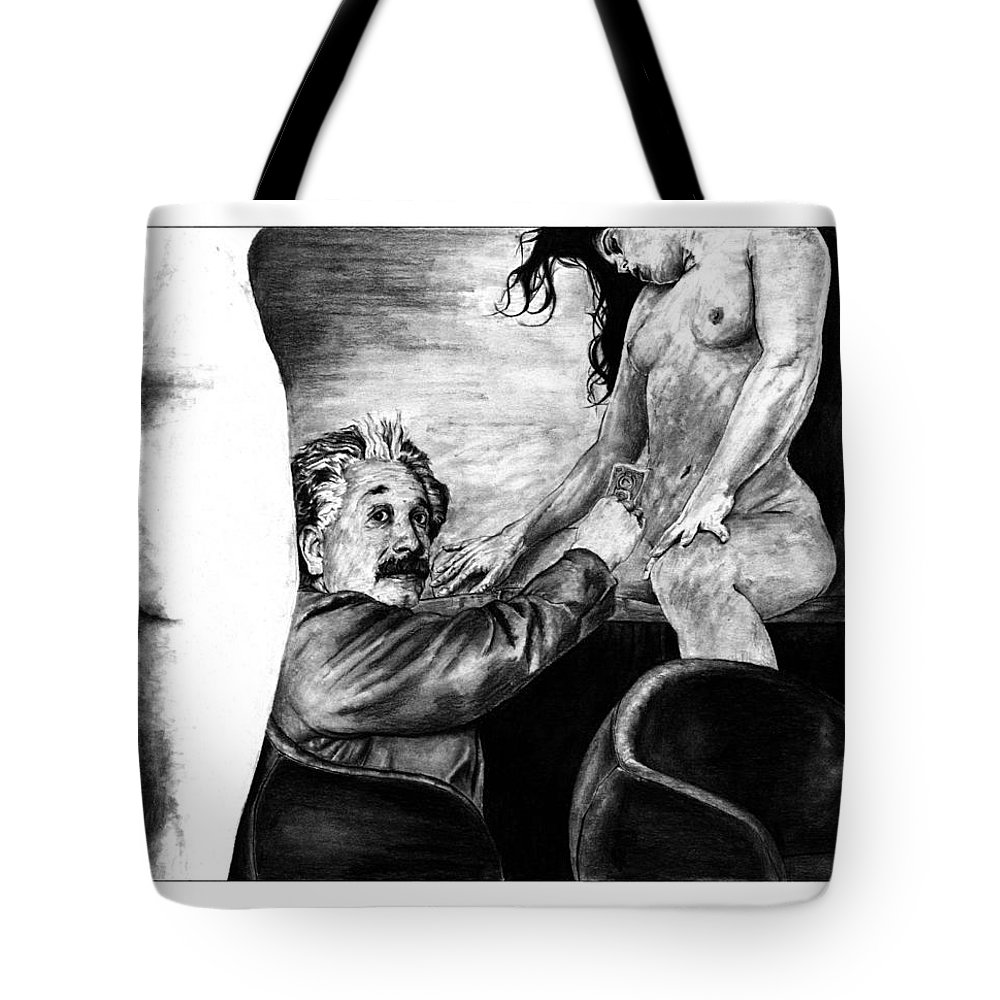 Portrait Girl Woman Charcoal Art Traditional Life 2d Nude Naked Beautiful Albert Einstein Strip Club Tote Bag featuring the drawing Taking A Day Off by Priscilla Vogelbacher