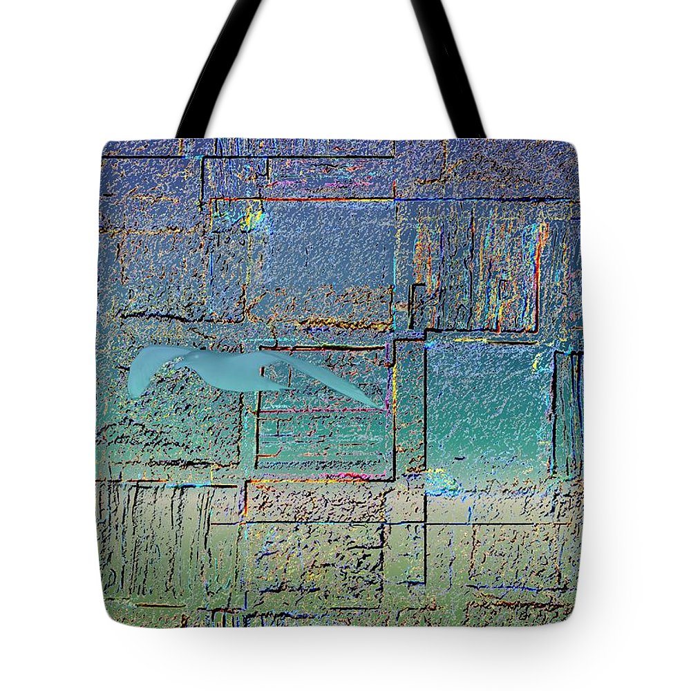 Gull Tote Bag featuring the digital art Taking Flight by Tim Allen