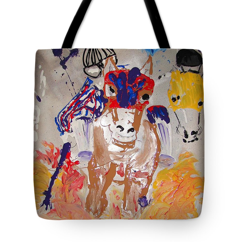 Horse Tote Bag featuring the mixed media Taking The Lead by J R Seymour