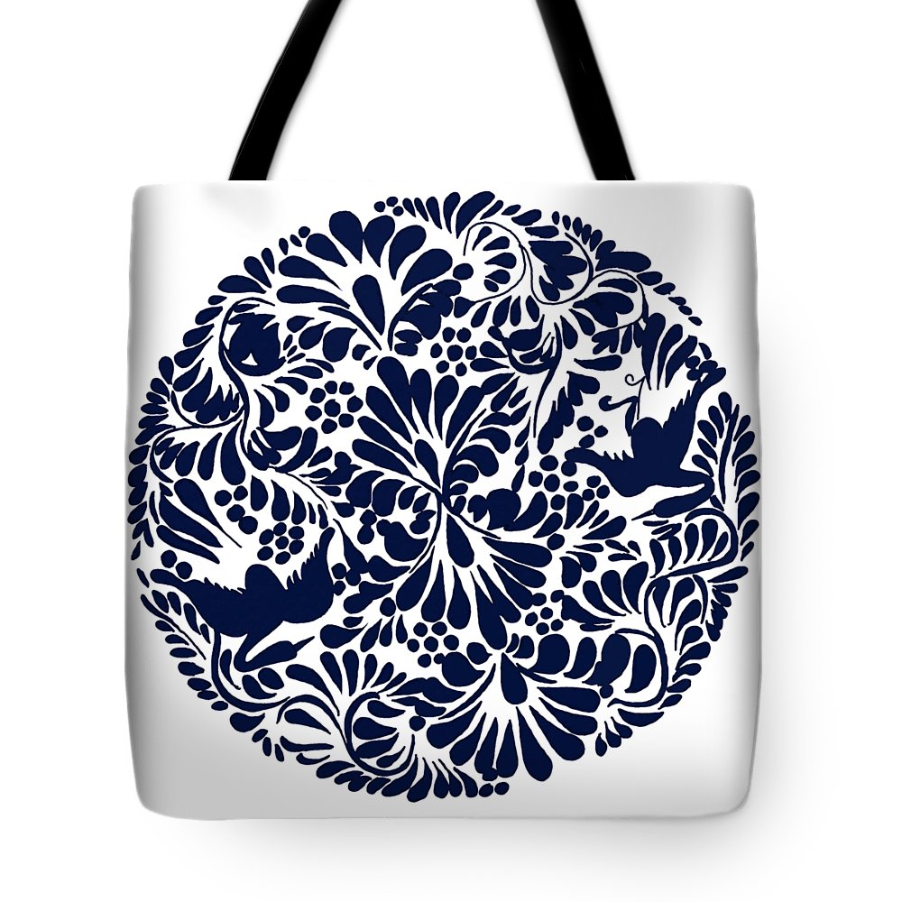 Talavera Design Tote Bag featuring the drawing Talavera Design by Priscilla Wolfe