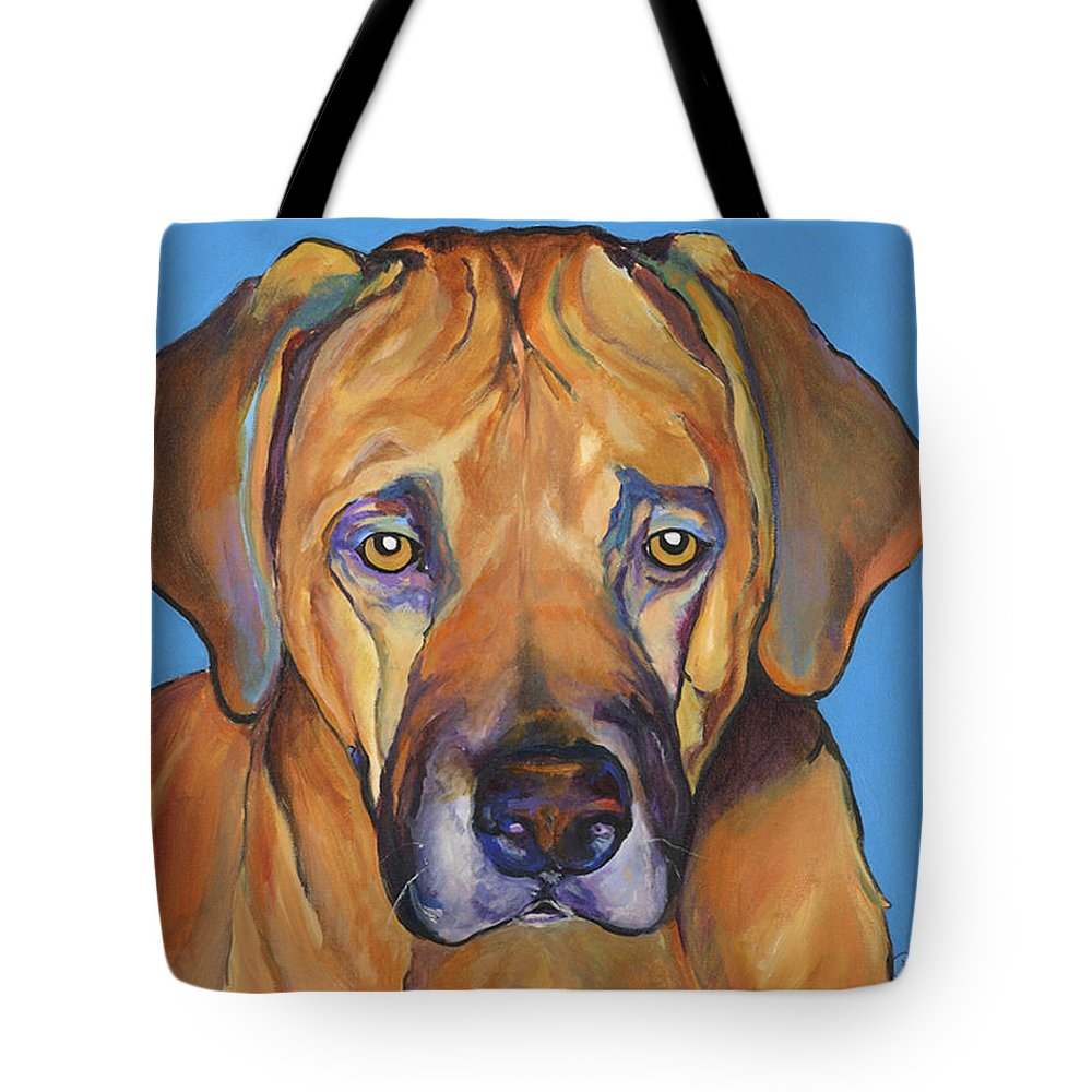 Rhodesian Ridgeback Dog Ridgeback African Colorful Orange Gold Yellow Red Tote Bag featuring the painting Talen by Pat Saunders-White