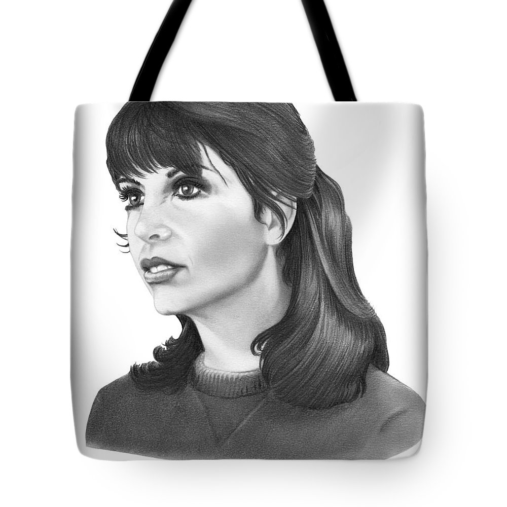 Pencil Tote Bag featuring the drawing Talia Shire - Adrian by Murphy Elliott