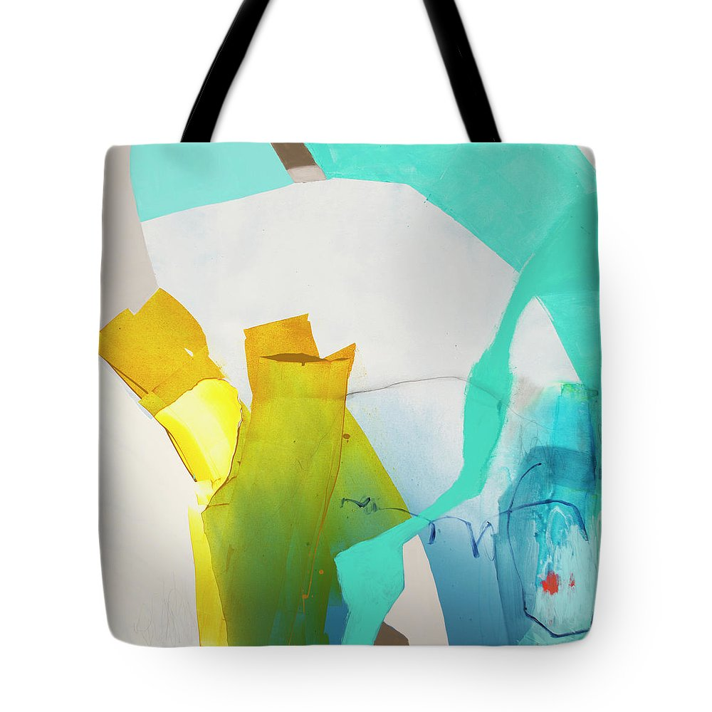 Abstract Tote Bag featuring the painting Talking To Myself by Claire Desjardins