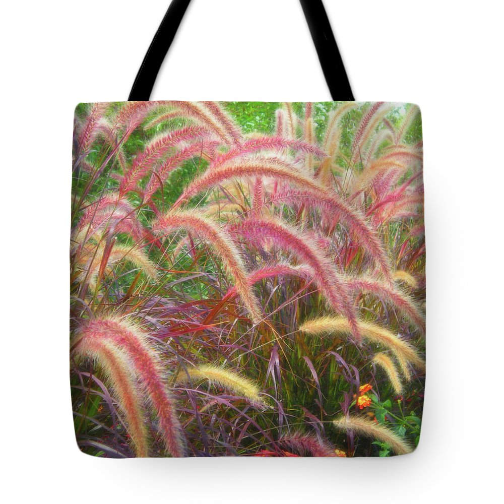 Tall Grasses Tote Bag featuring the photograph Tall, Colorful, Whispy Grasses In The Sumer Breeze by Barbara Rogers Nature Inspired Art Photography