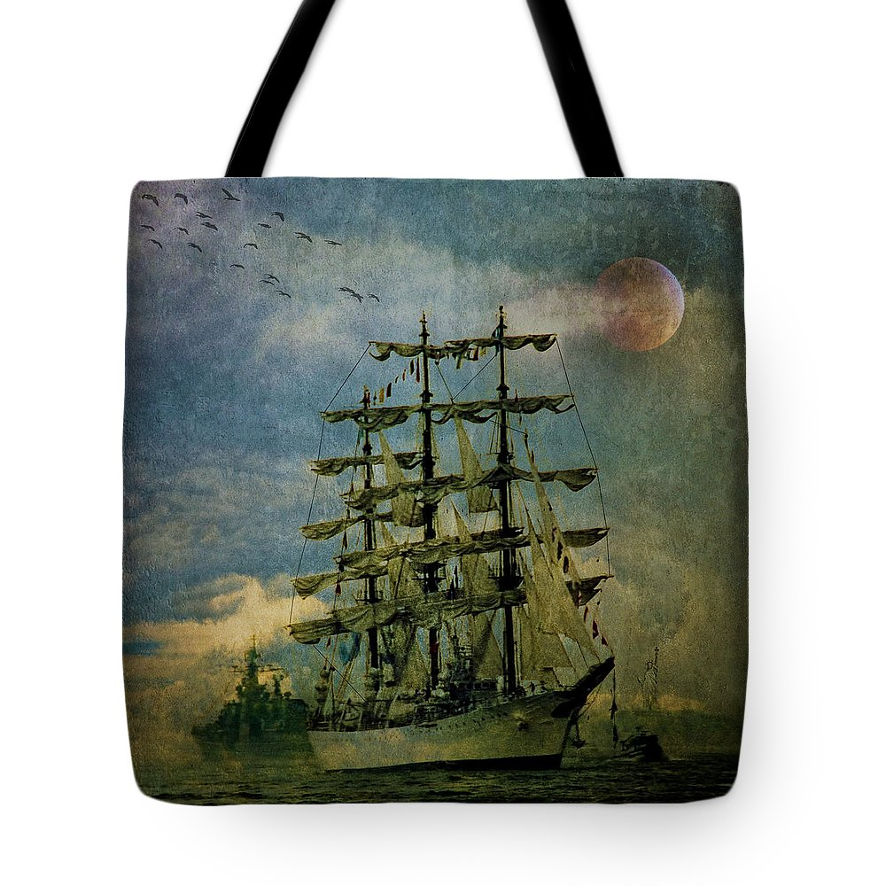Tall Ship Tote Bag featuring the photograph Tall Ship New York Harbor 1976 by Chris Lord