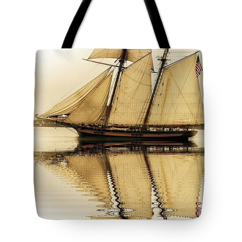 Tote Bag featuring the photograph Tall Ship Sepia by Valerie Stein