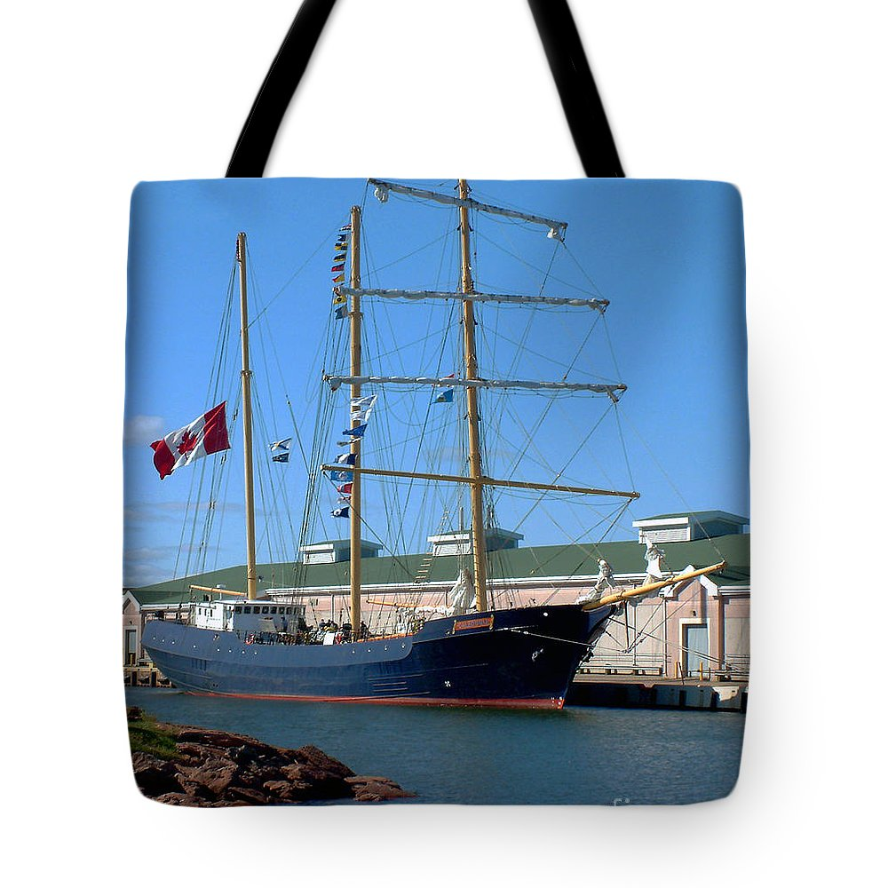 Dock Tote Bag featuring the photograph Tall Ship Waiting by RC DeWinter