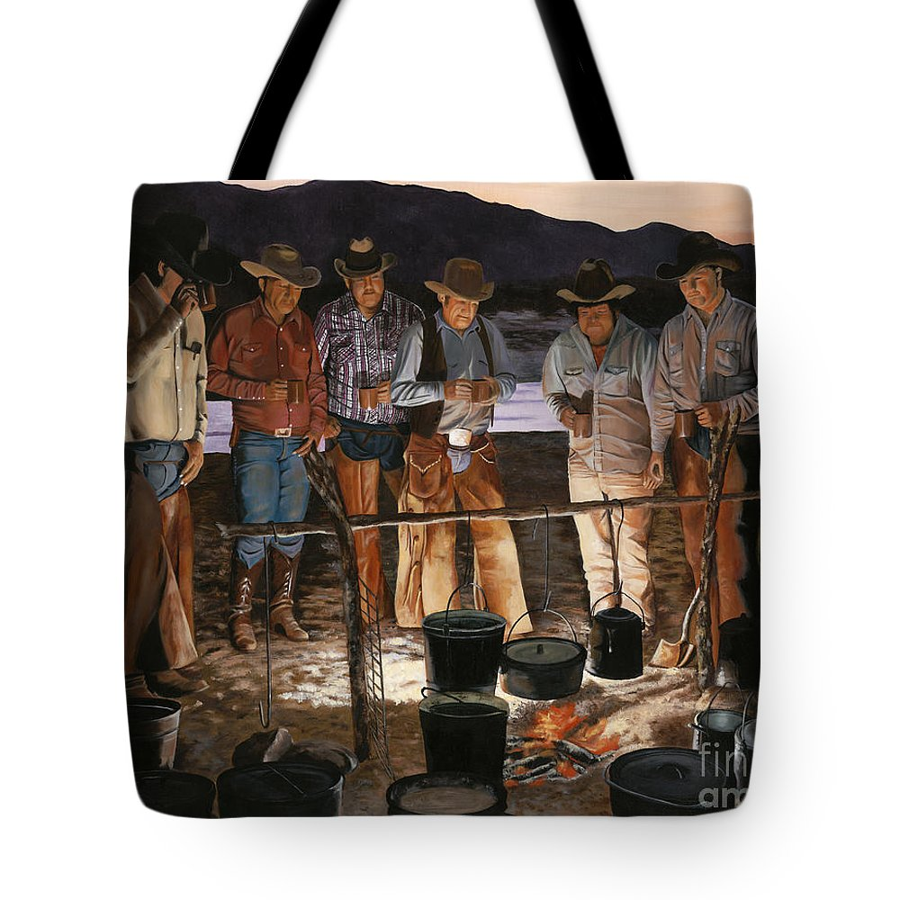 Arizona Tote Bag featuring the painting Tall Tales by Mary Rogers