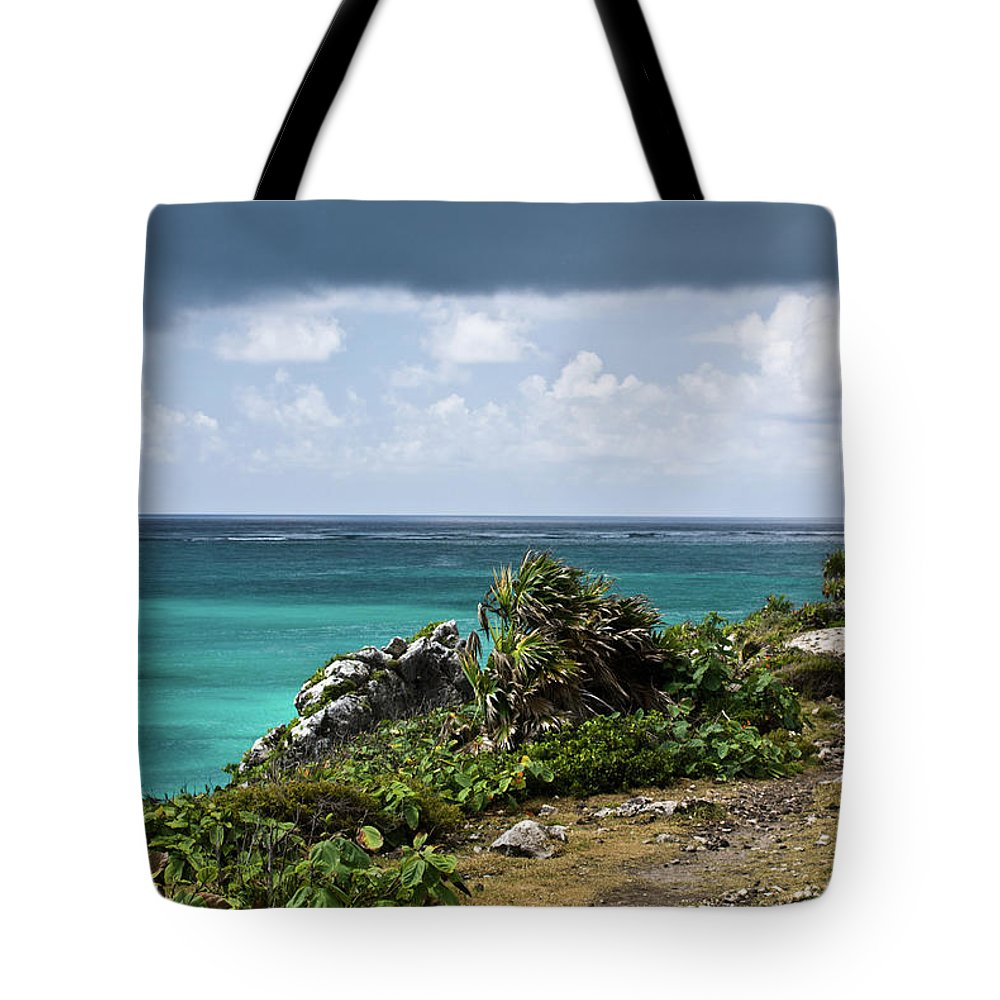 Tulum Ruins Tote Bag featuring the photograph Talum Ruins Mexico Ocean View by Douglas Barnett