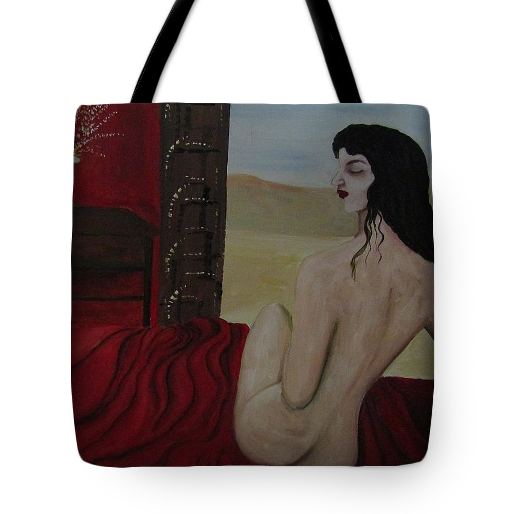 Women Tote Bag featuring the painting Tamed by Romelette Metz