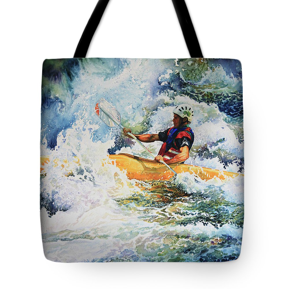 Sports Art Tote Bag featuring the painting Taming Of The Chute by Hanne Lore Koehler
