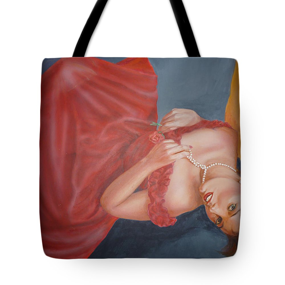 Romantic Tote Bag featuring the painting Tammy by Bryan Bustard