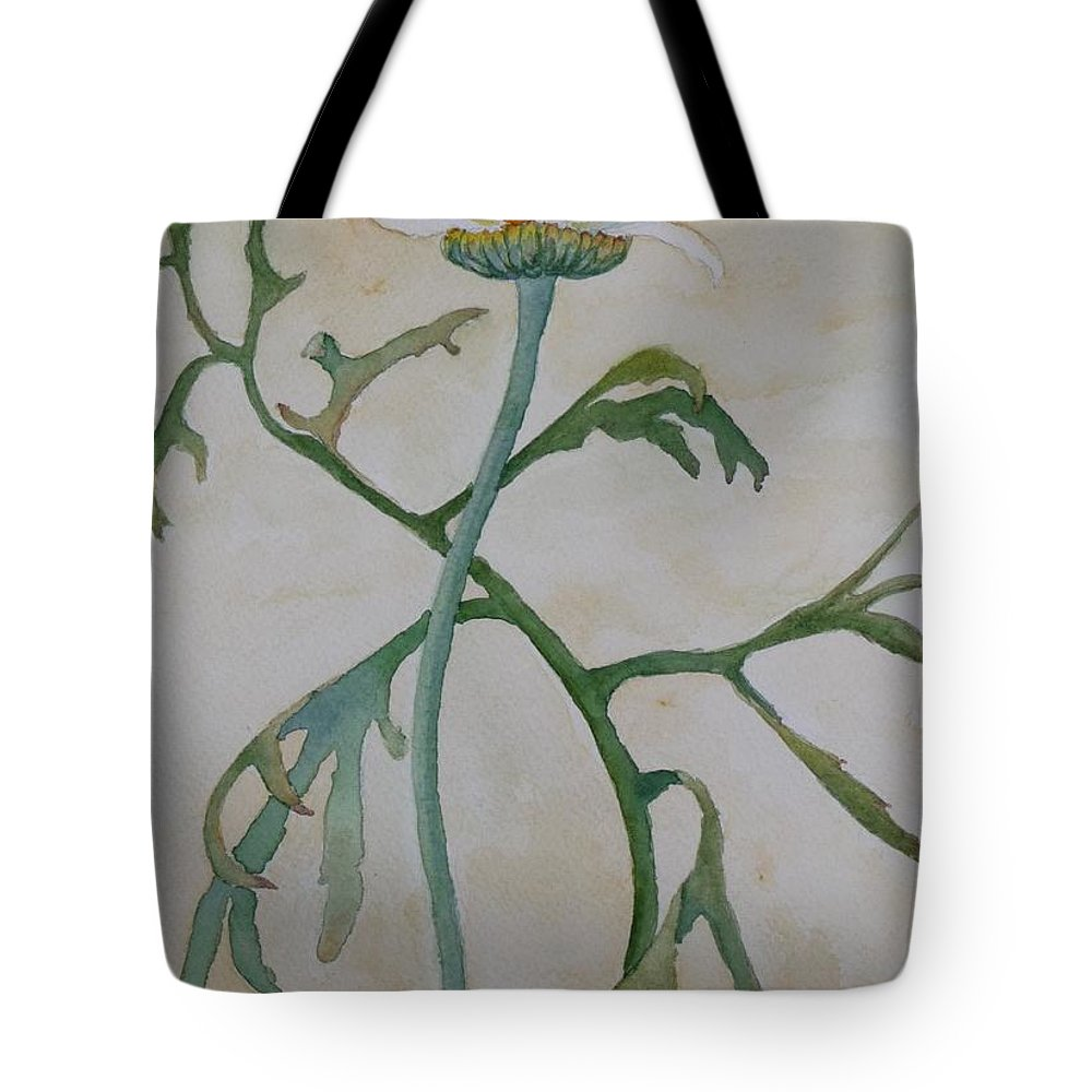 Flower Tote Bag featuring the painting Tanacetum by Ruth Kamenev