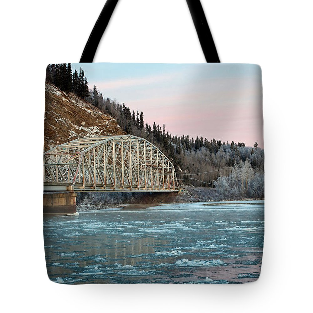 Bluff Tote Bag featuring the photograph Tanana River Bridge At Big Delta by Cathy Mahnke