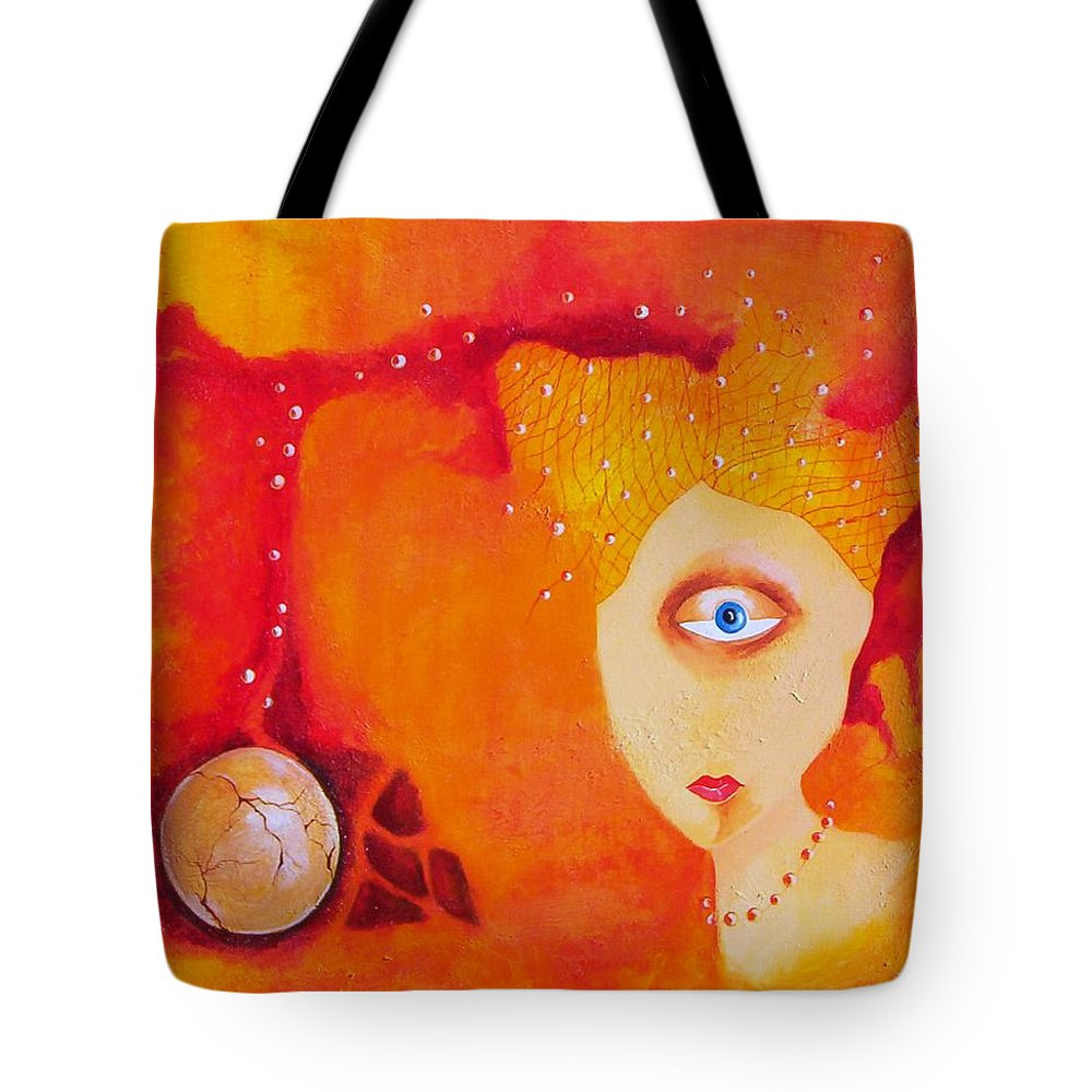 Tangerine Orange Eyes Woman Pearls Thoughts Life Egg Tote Bag featuring the painting Tangerine Dream by Veronica Jackson