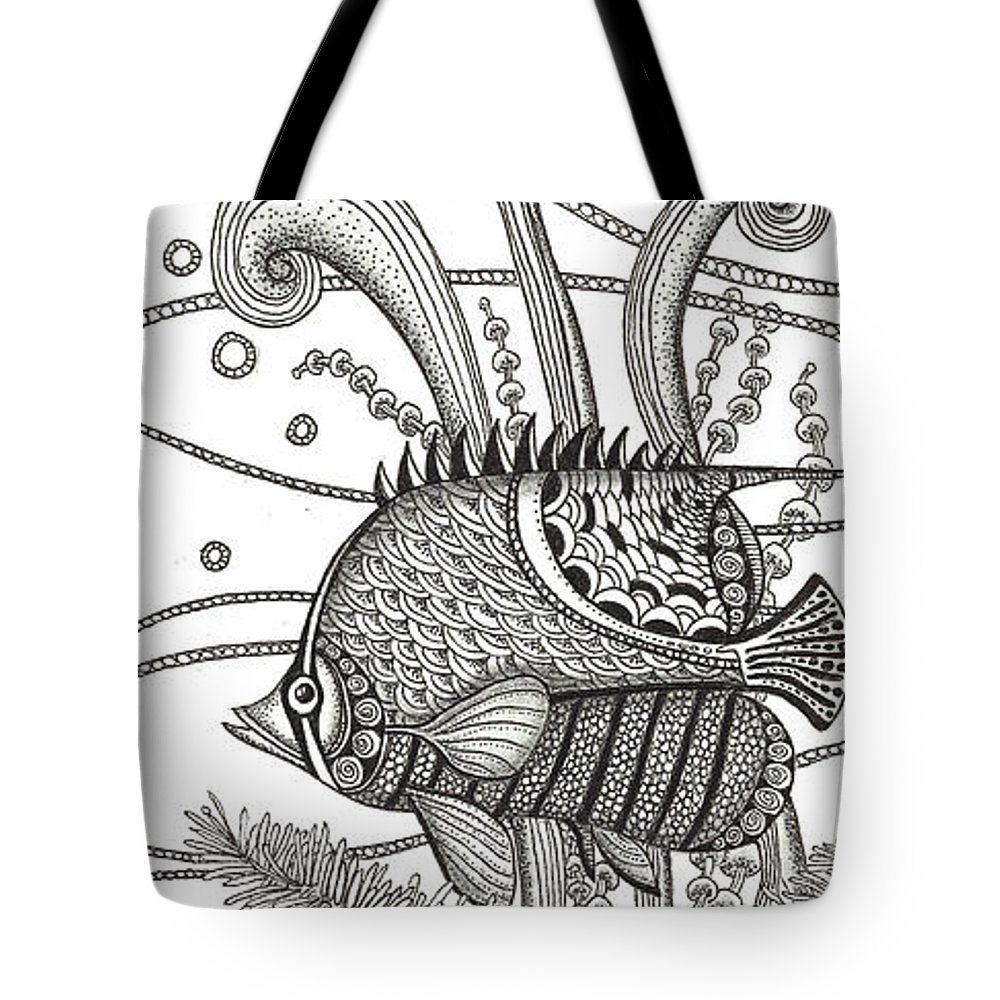 Fish Tote Bag featuring the drawing Tangle Fish by Stephanie Troxell