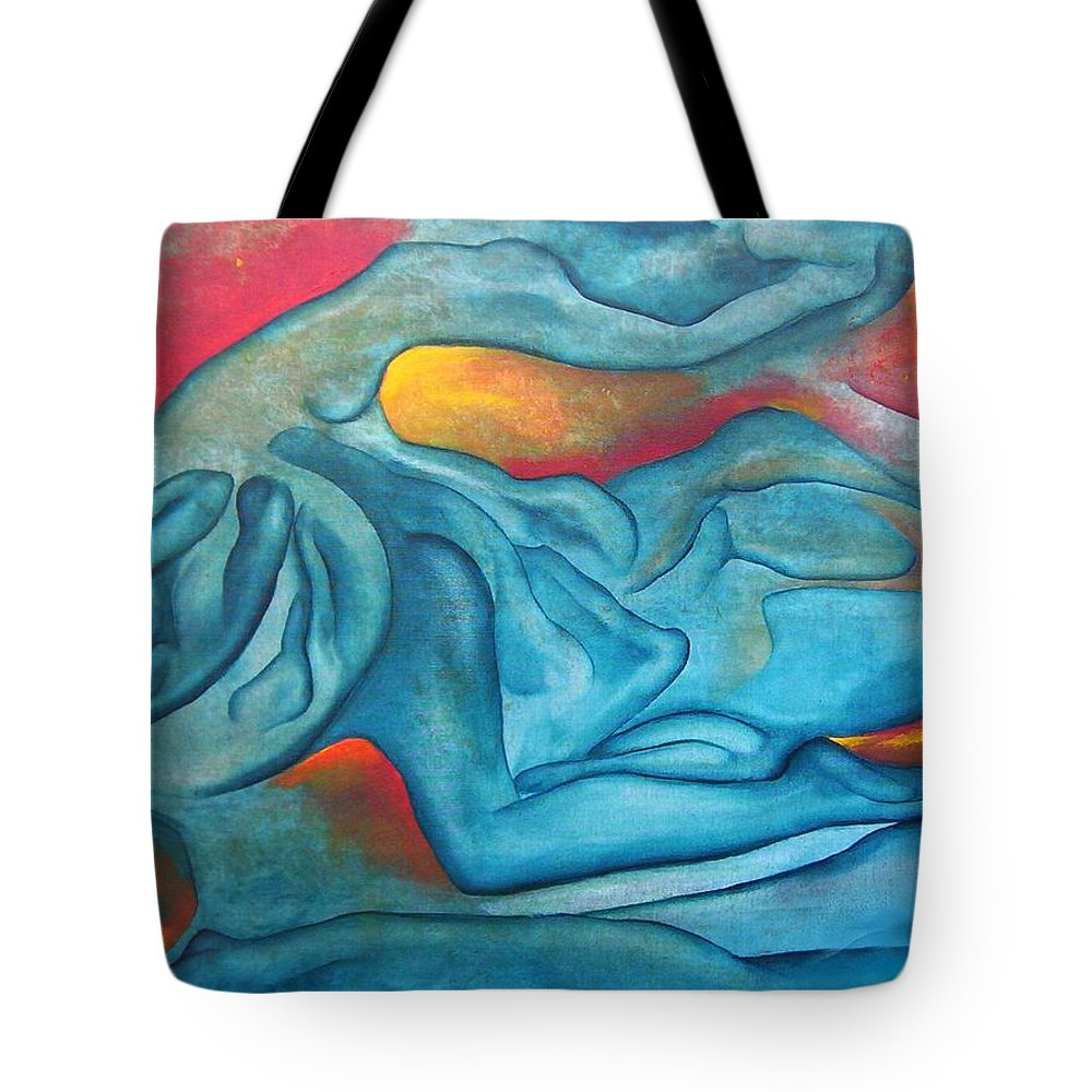 Abstract Blues Love Passion Sensual Earth Tote Bag featuring the painting Tangled Up by Veronica Jackson