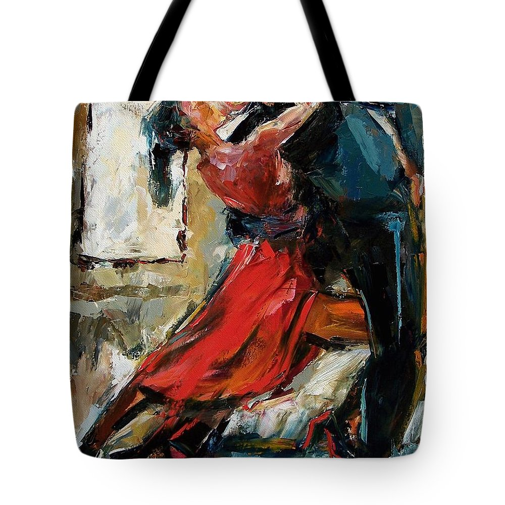 Tango Tote Bag featuring the painting Tango By The Window by Debra Hurd