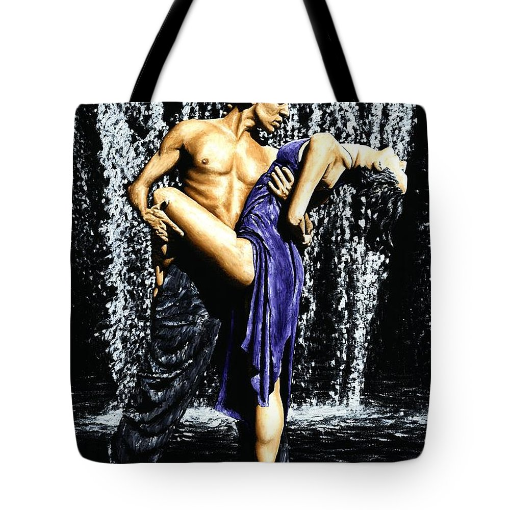 Tango Tote Bag featuring the painting Tango Cascade by Richard Young