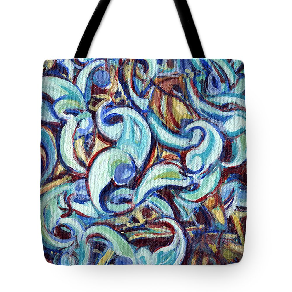 Spiral Tote Bag featuring the painting Tango by Kerryn Madsen-Pietsch
