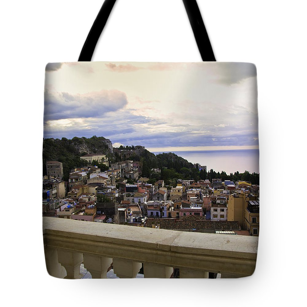 Taormina Tote Bag featuring the photograph Taormina Balcony View 2 by Madeline Ellis