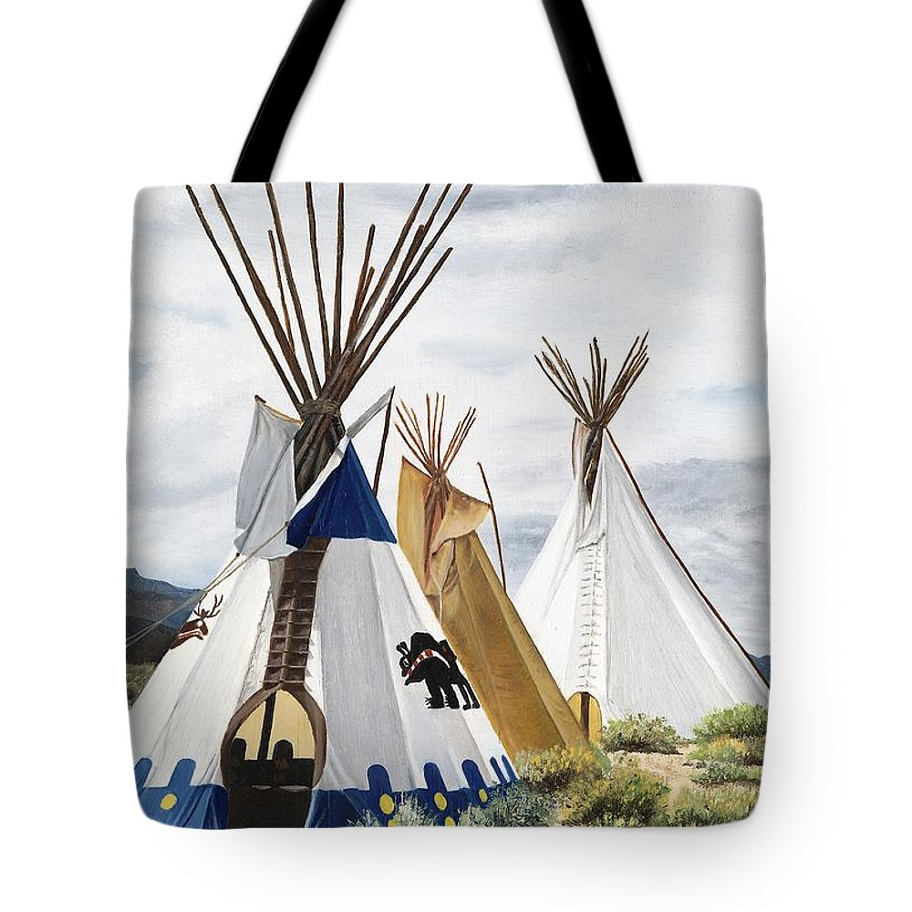 Art Tote Bag featuring the painting Taos by Mary Rogers